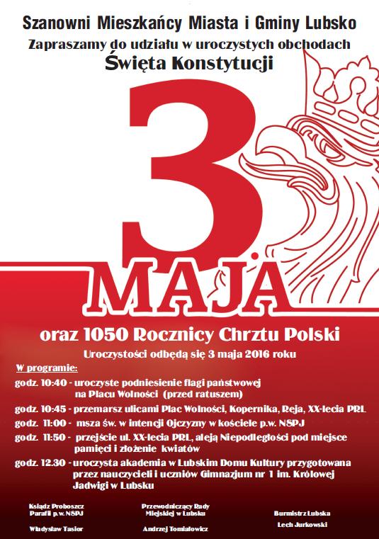 Ilustracja do informacji: Święto Konstytucji 3. Maja oraz 1050 rocznica Chrztu Polski