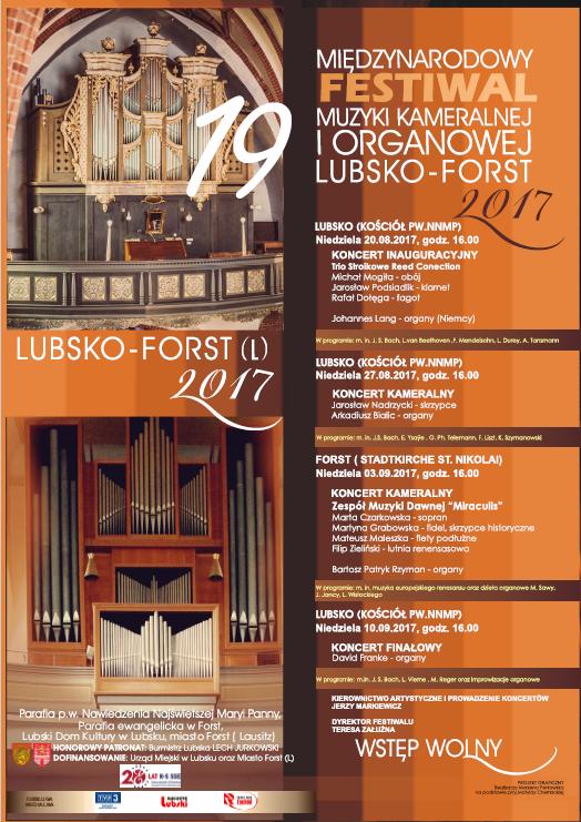 Ilustracja do informacji: XIX MIĘDZYNARODOWY FESTIWAL MUZYKI KAMERALNEJ I ORGANOWEJ LUBSKO - FORST 2017