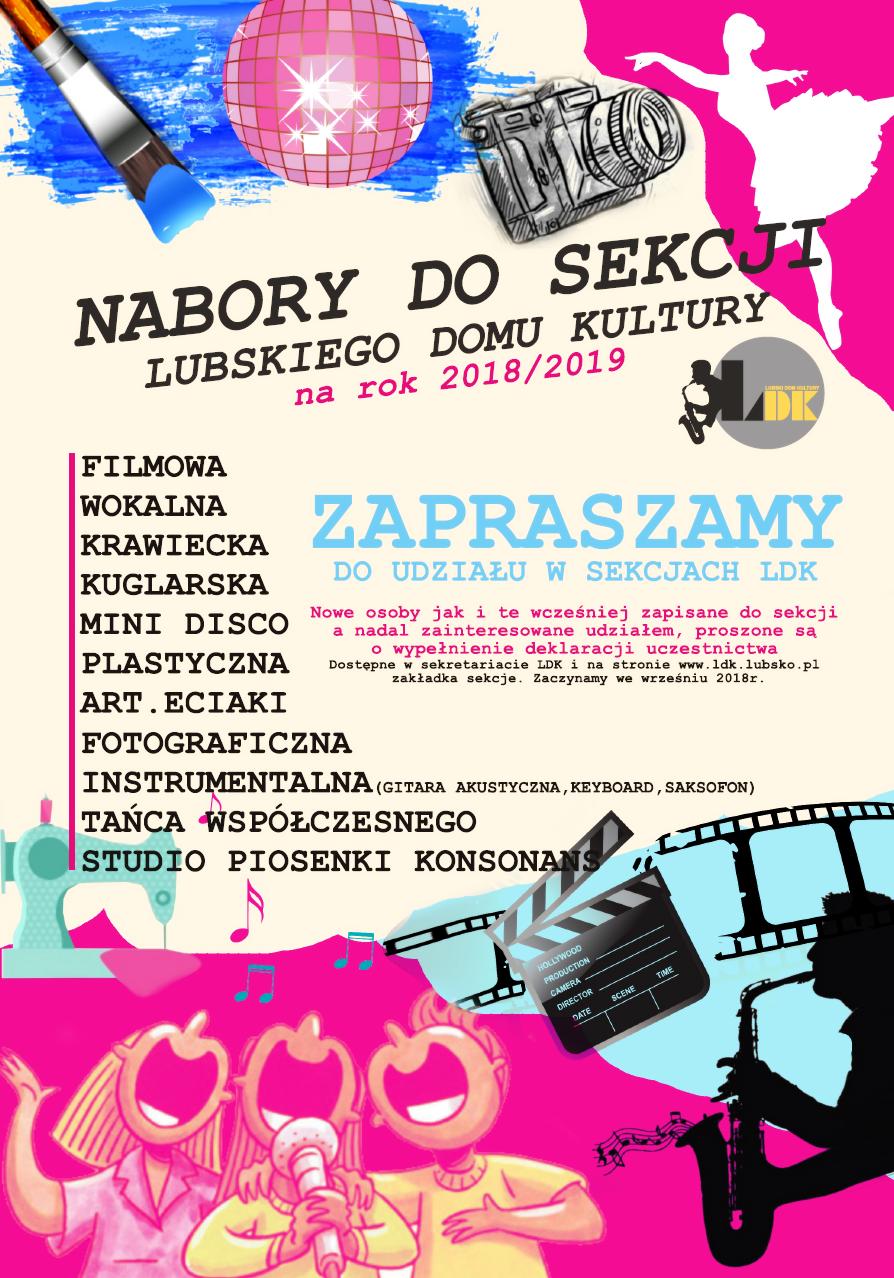 Ilustracja do informacji: Nabory do sekcji Lubskiego Domu Kultury na rok 2018/2019