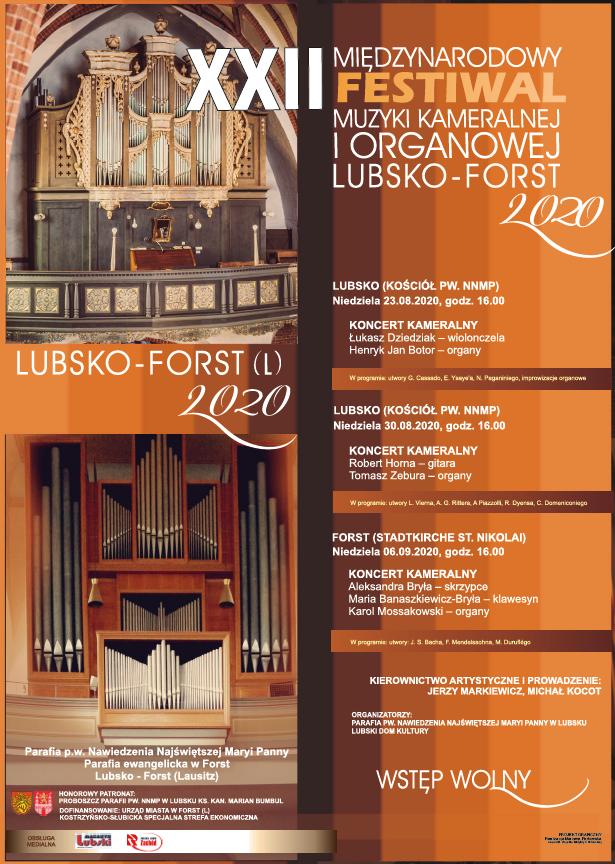 Ilustracja do informacji: ZAPRASZAMY NA MIĘDZYNARODOWY FESTIWAL MUZYKI KAMERALNEJ I ORGANOWEJ LUBSKO - FORST 2020