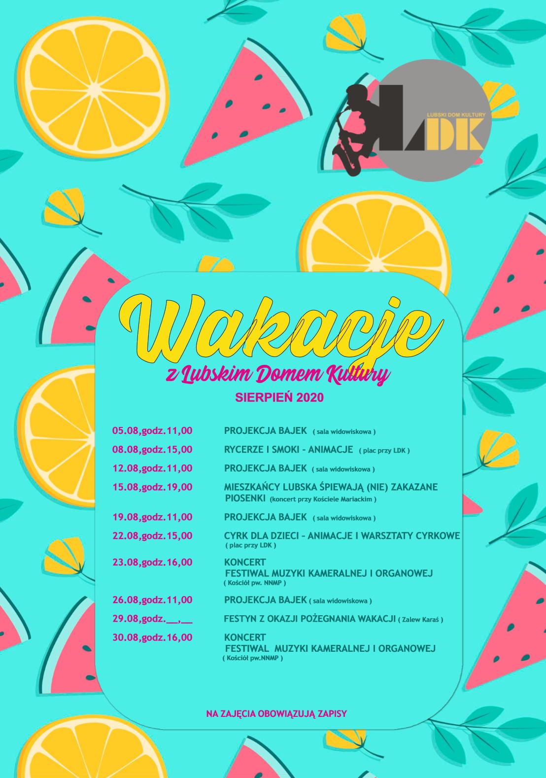 Ilustracja do informacji: Wakacje z Lubskim Domem Kultury sierpień 2020