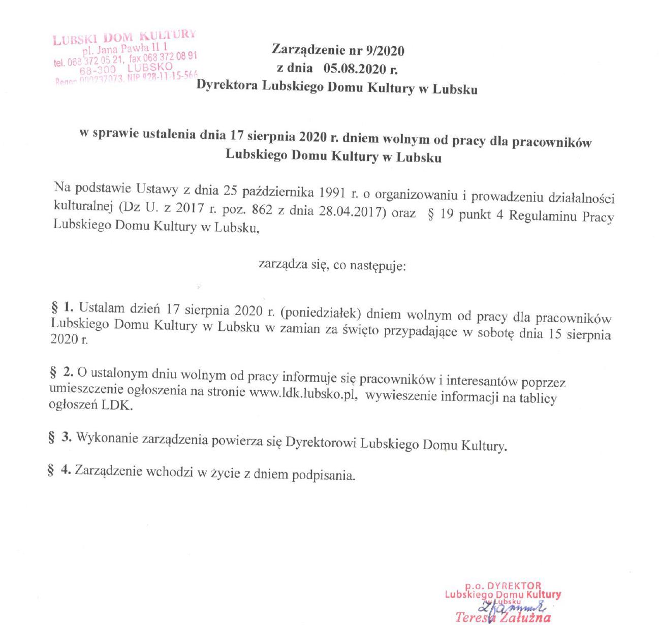 Ilustracja do informacji: Zarządzenie nr 9/2020 Dyrektora 17 dniem wolnym